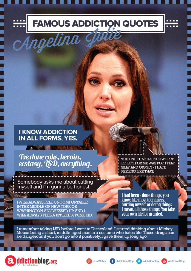 Angelina Jolie quotes on drugs and addiction (INFOGRAPHIC)