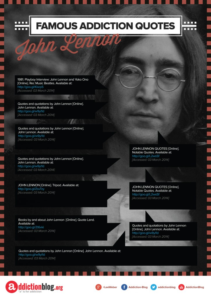 Famous Addiction Quotes John Lennon [Reference Sources]