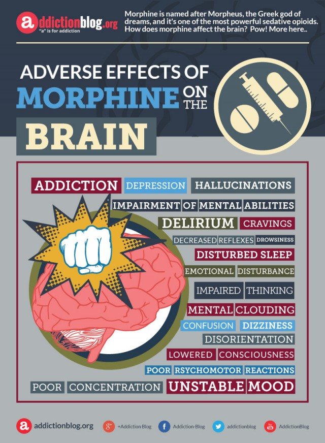 Adverse or negative effects of morphine on the brain (INFOGRAPHIC)