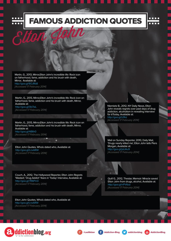 Elton John\'s quotes drug addiction (INFOGRAPHIC)