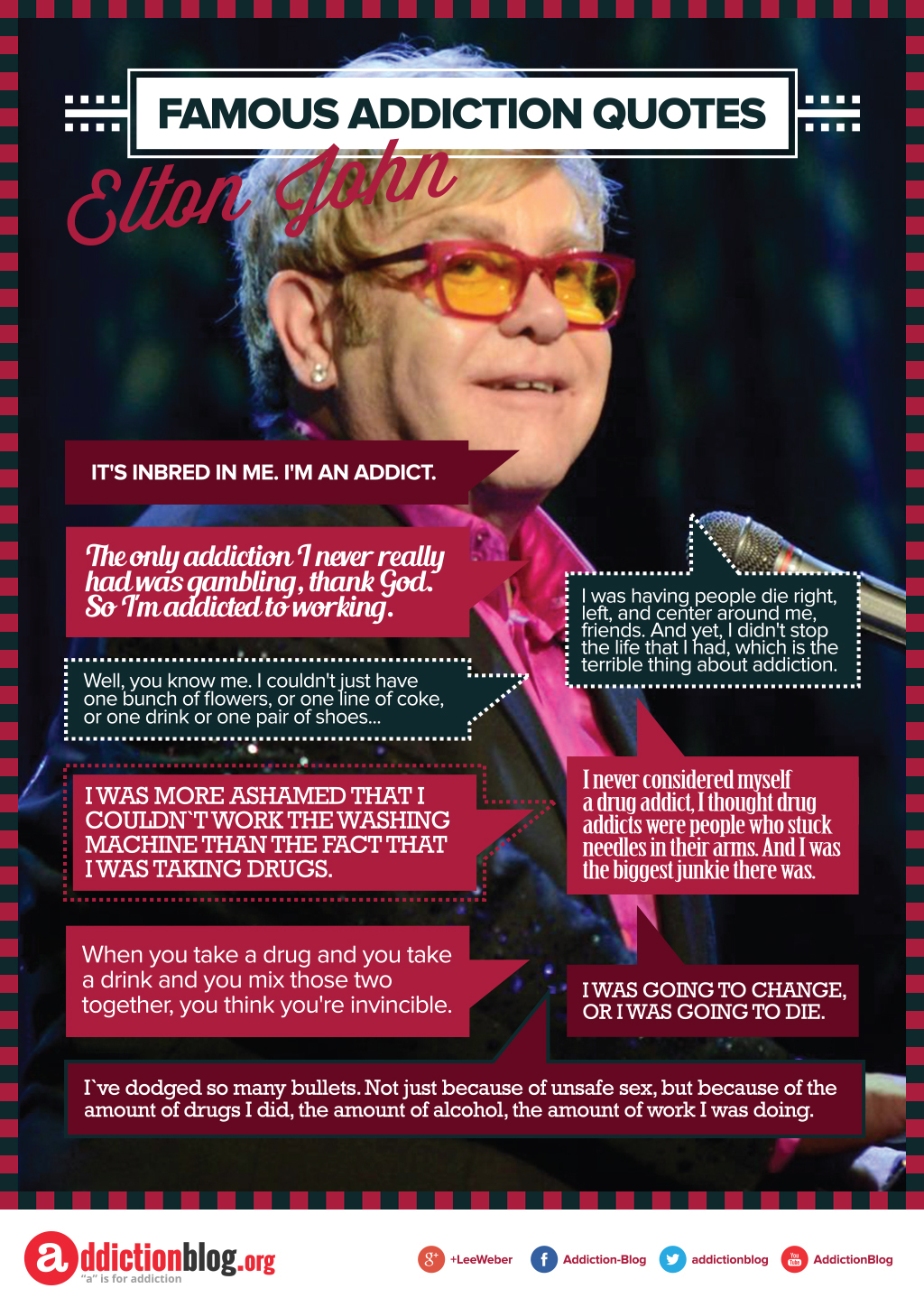 Elton John's quotes drug addiction (INFOGRAPHIC)