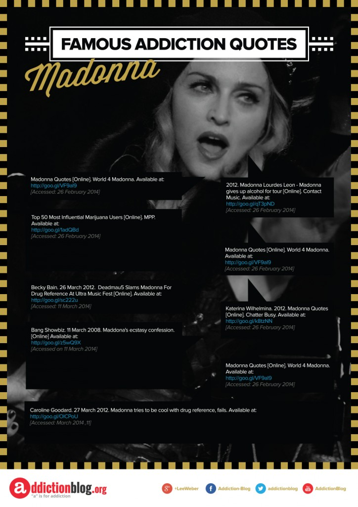 Famous Addiction Quotes Madonna [Reference Sources]