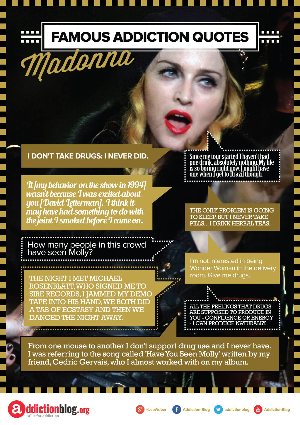 Madonna's quotes on drug use and drinking (INFOGRAPHIC)