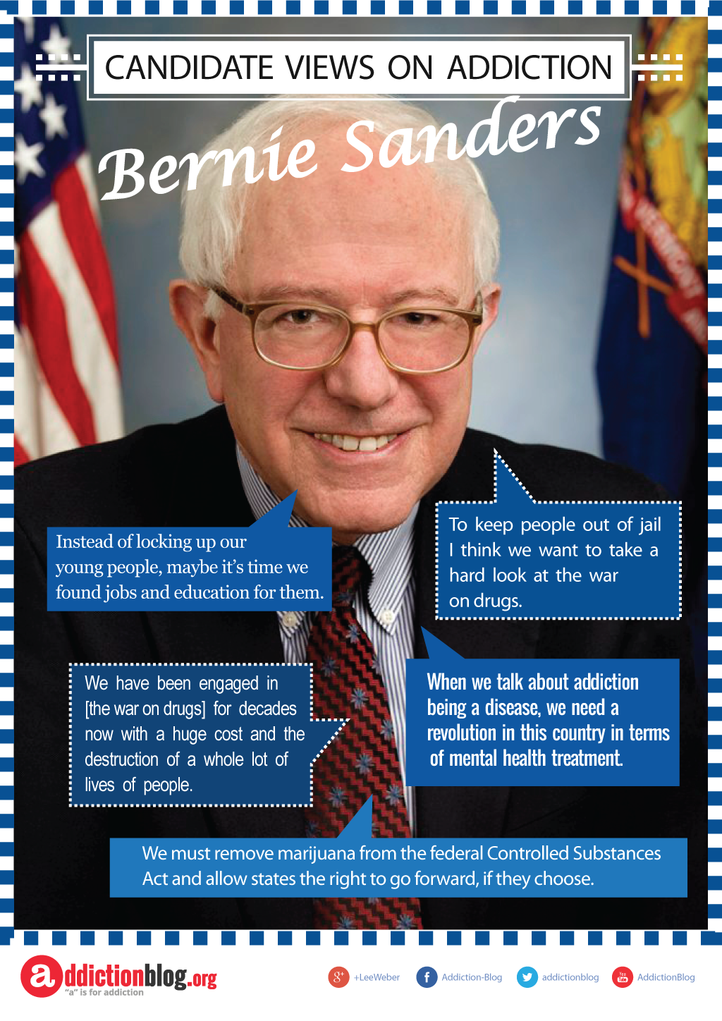 Bernie Sanders quotes on addiction, its treatment, and The War on Drugs (INFOGRAPHIC)