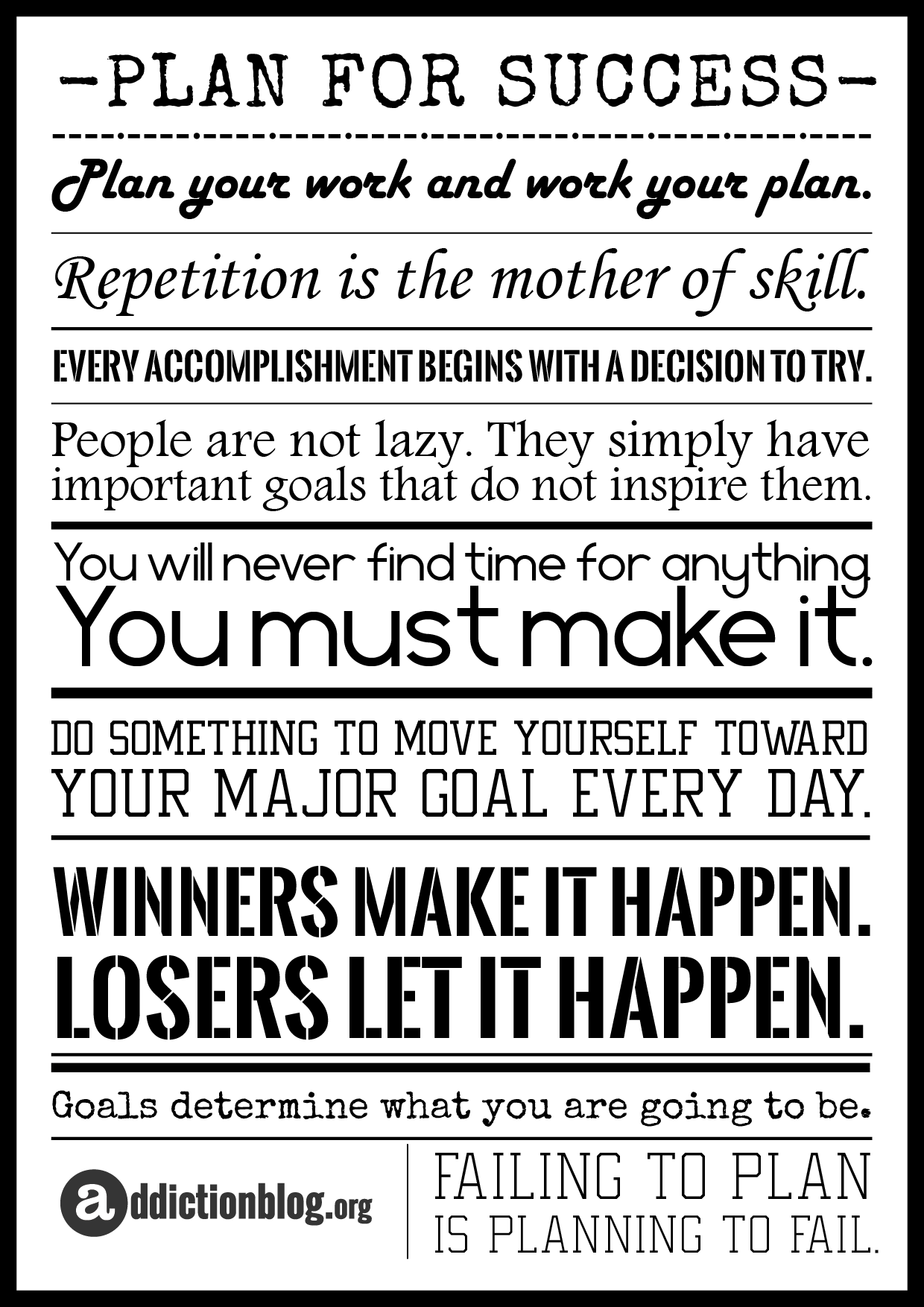 Addiction Plan for Recovery: Quotes for Success [POSTER]