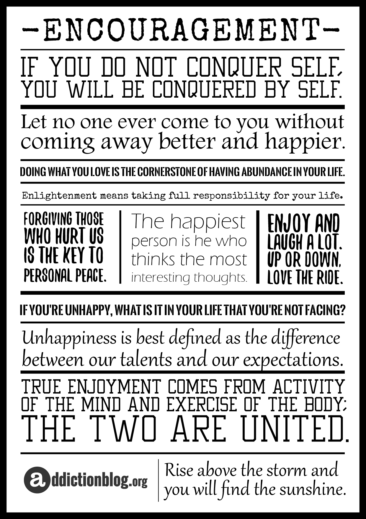 Addiction Quotes: Encouragement In Addiction Recovery [POSTER]