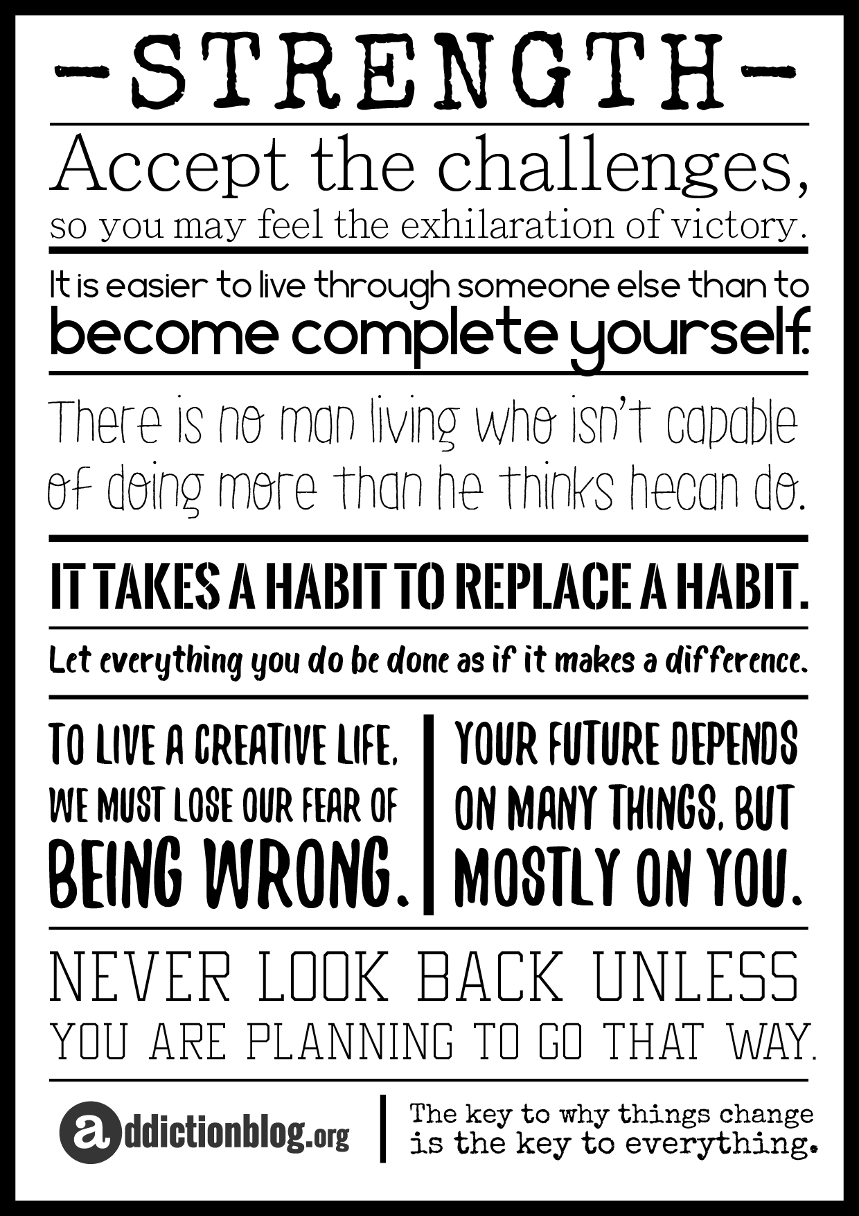 Quotes about Strength In Addiction Recovery [POSTER]